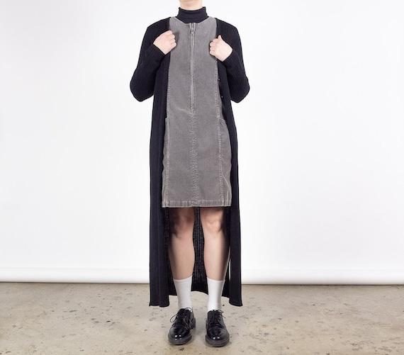 90s Long Black Ribbed Cardigan Dress / Wool Blend