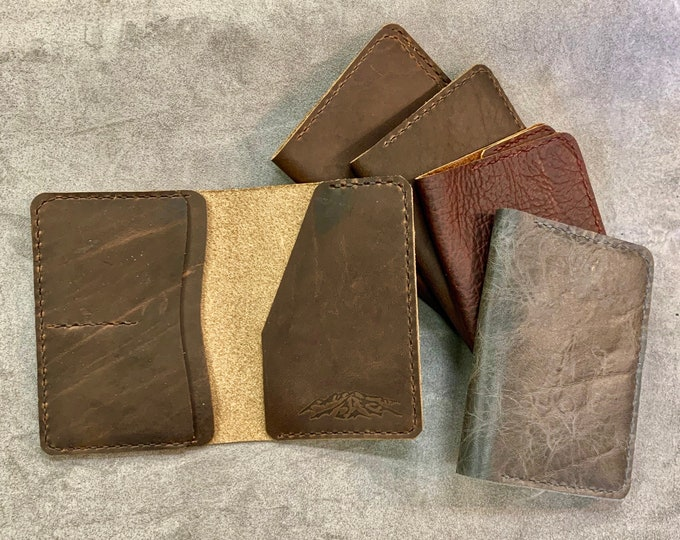 Passport Holder, Travel Wallet, Document holder, Bison Buffalo Leather, Hand Stitched, Made in the USA, Travel