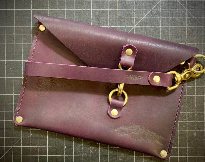 Purple Bison leather wristlet