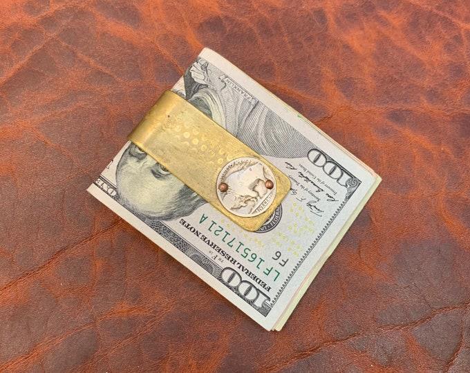 Reclaimed artillery shell money clip with buffalo nickel