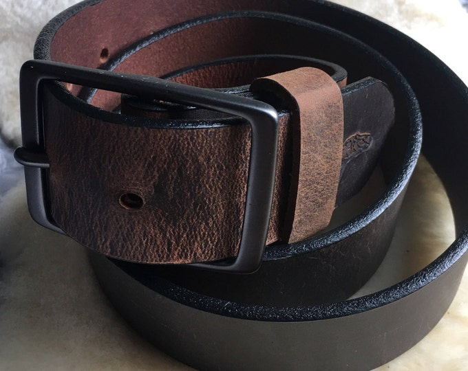 Bison/Buffalo Leather Belt with Brass Buckle
