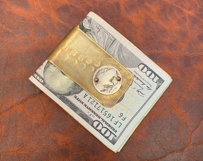 Reclaimed artillery shell money clip with buffalo nickel