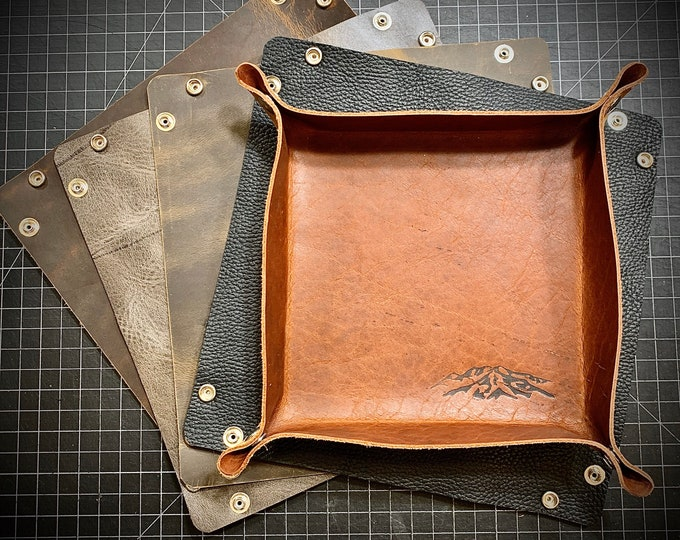 "Bison/ Buffalo leather Valet tray 10""x10"""
