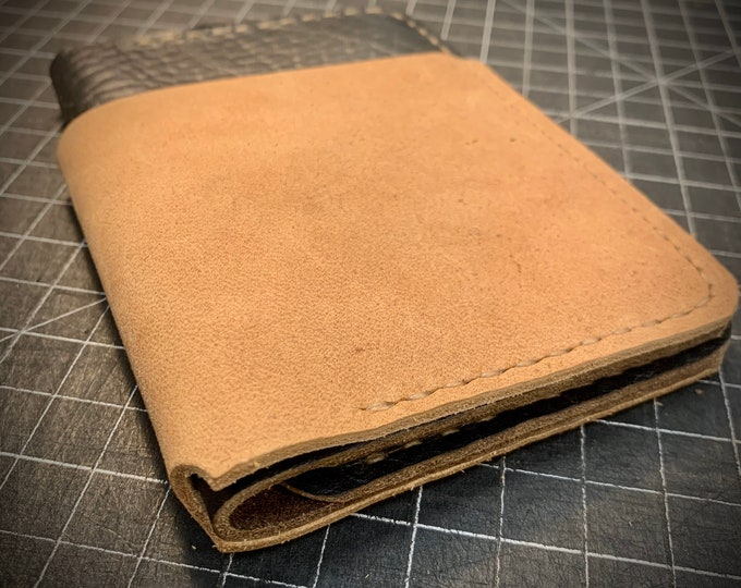 Hand stitched Bison / Buffalo leather bi-fold wallet
