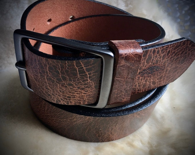Custom sized Belt. Bison/Buffalo Leather Belt with Brass Buckle *Add size needed in Notes***