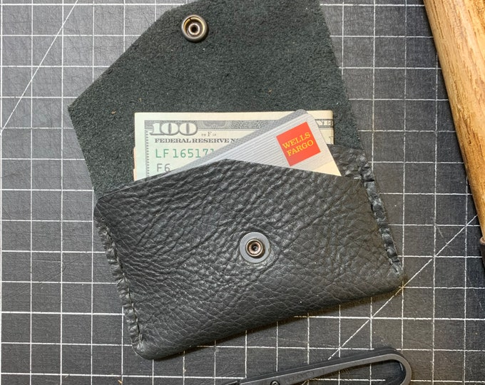 All Black Bison leather snap wallet