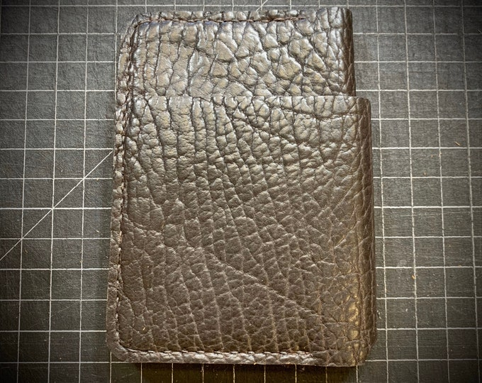 Shrunken Chocolate Bison bifold wallet hand stitched