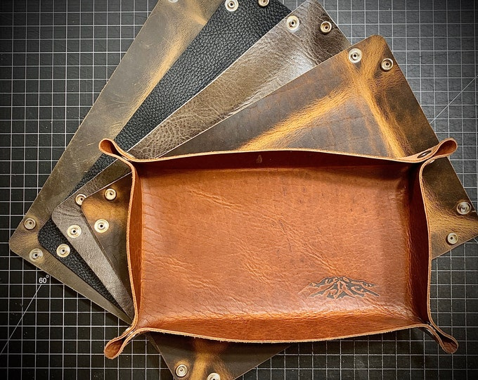"Bison/ Buffalo leather Valet tray 8""x12"""