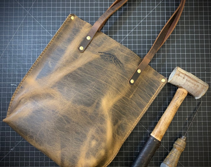 Hand made Bison leather tote