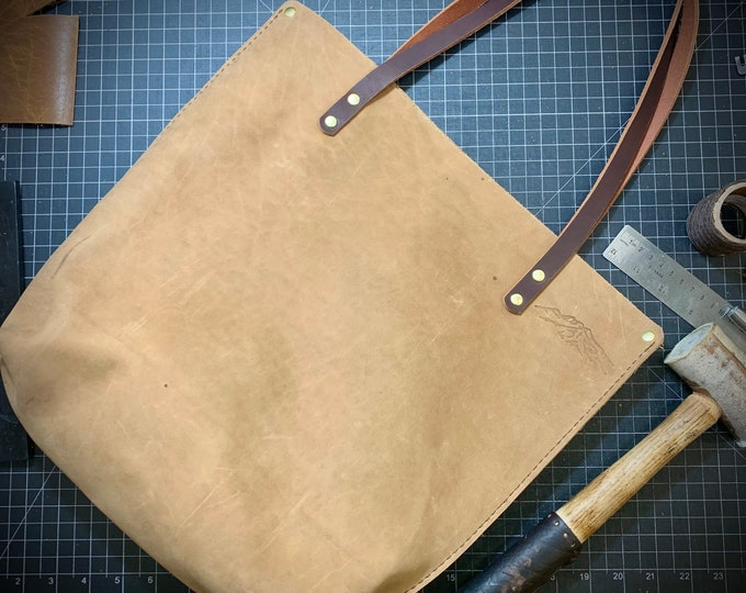 Hand stitched Bison leather Tote