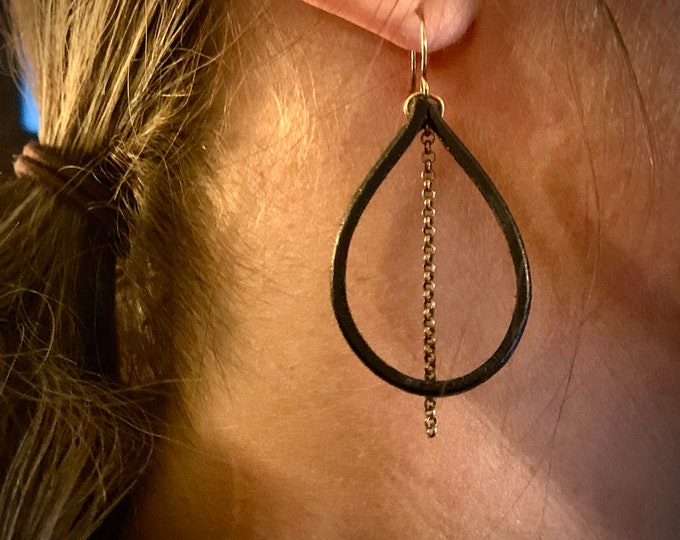 Bison Leather and Antiqued brass Earrings *hypoallergenic