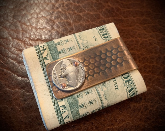 Money Clip made with Reclaimed Bronze Vietnam Artillery Casing and vintage Buffalo Nickel