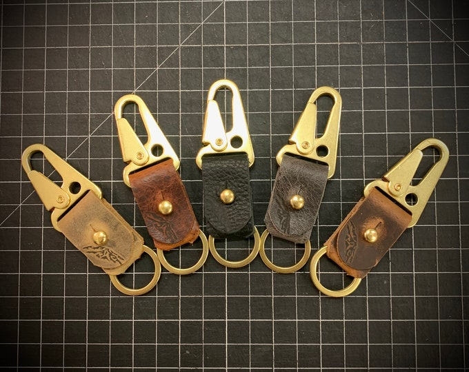 Bison leather and brass HK military style keychain snap clip