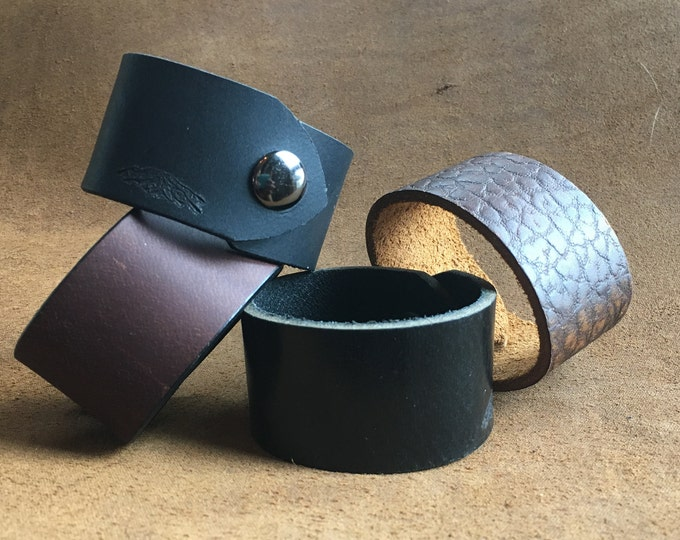 Bison Leather Snap Cuff Bracelet