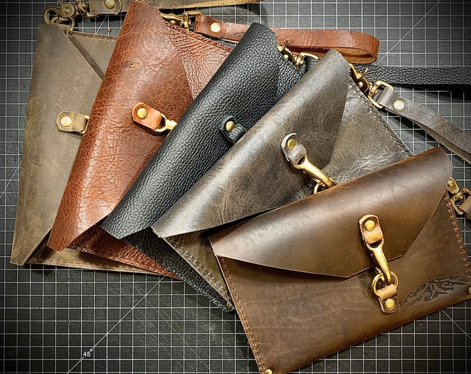 Hand made Bison/Buffalo leather Wristlet