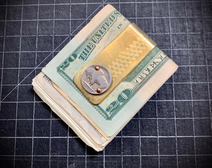 Reclaimed Brass money clip with vintage Buffalo nickel