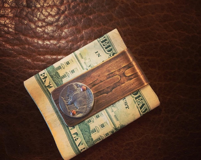 Money Clip made with Reclaimed Brass Vietnam Artillery Casing and vintage Buffalo Nickel