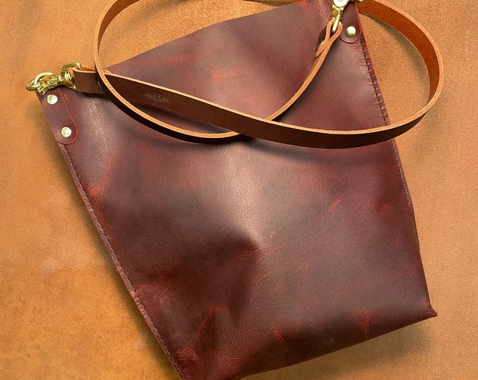 Summer Fire Red Bison leather Crossbody