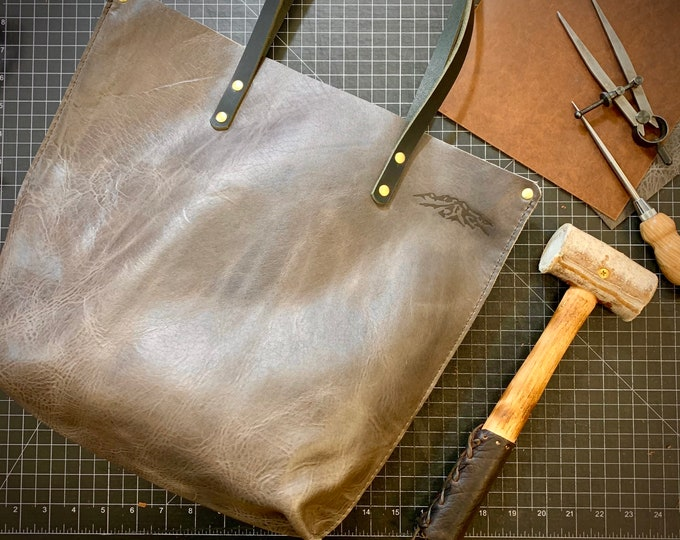 Grey Bison leather tote