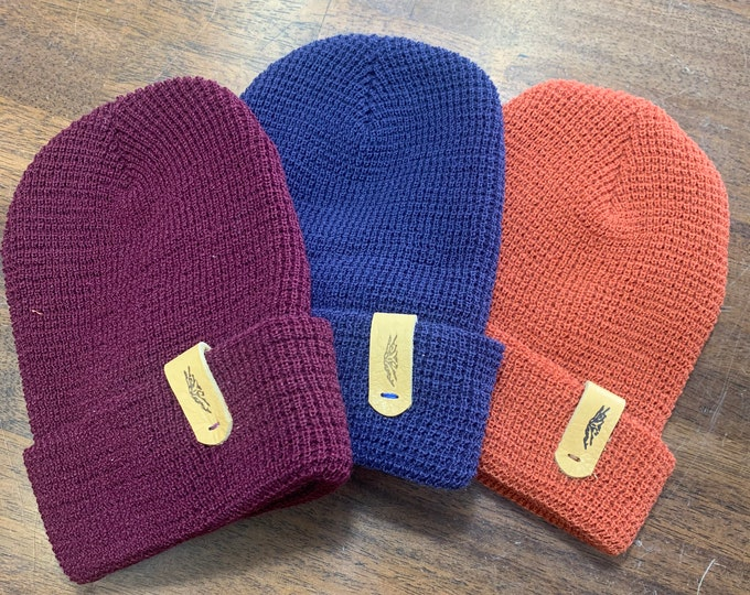 Waffle Knit beanie with Bison leather tag