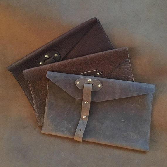 Large Bison Leather Clutch