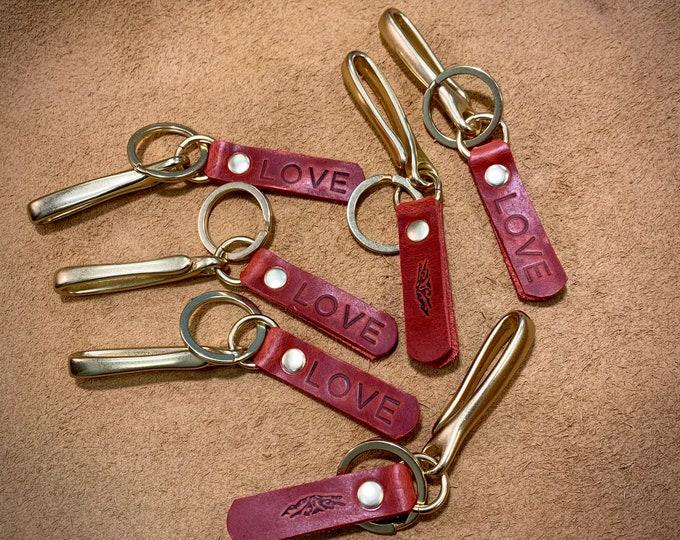 LOVE Red bison and brass fishhook keychain