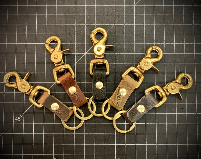 Swivel Snap raw Brass keychain with Bison Leather