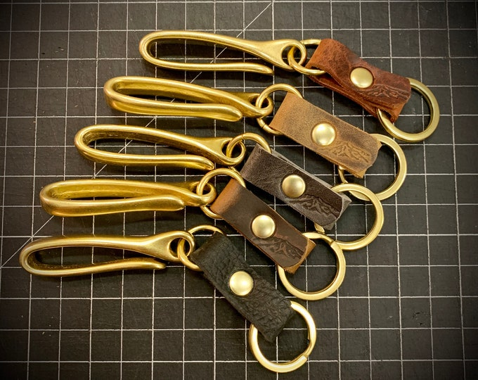 Japanese Fishhook Keychain with Bison Leather and Solid Brass