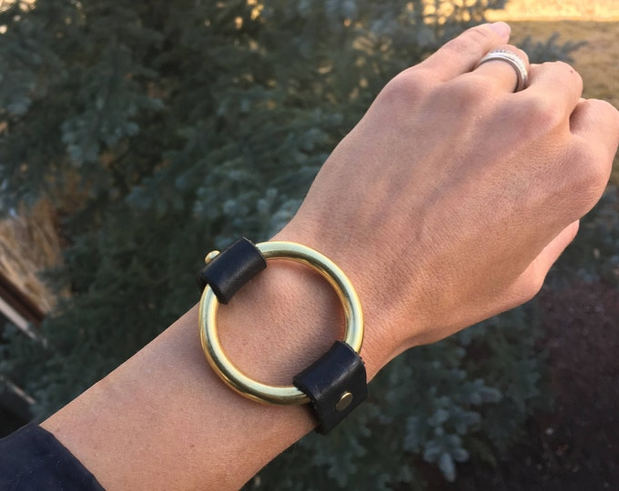 Brass Ring Bracelet with Bison/ Buffalo Leather Strap - Custom Style, Sweet Gift
