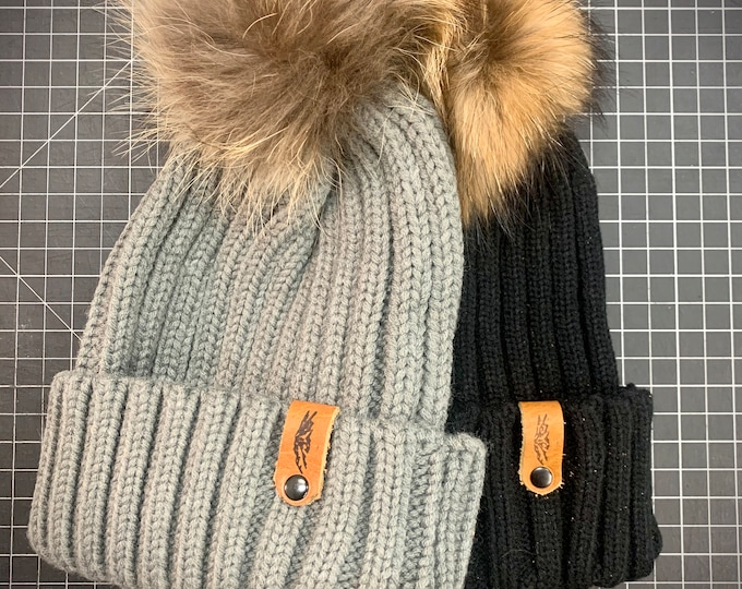 Chunky Knit Pom Pom Beanie with removable REAL Fox Fur Pom