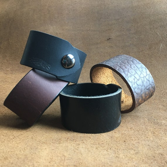 Bison Leather Cuff Snap Bracelet