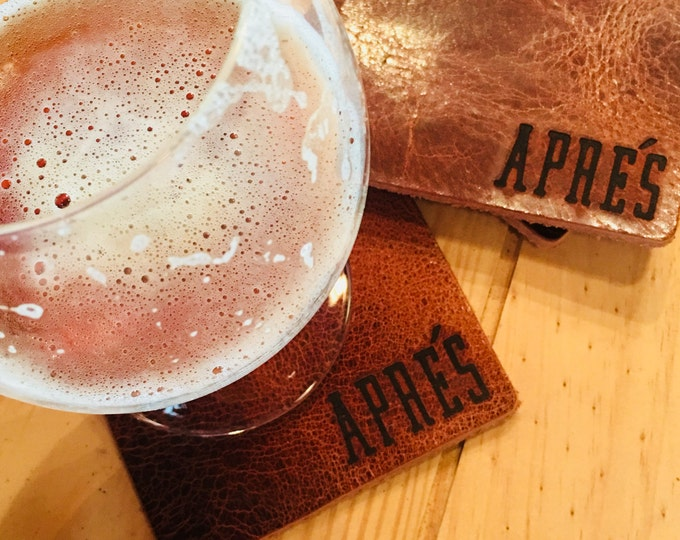 Bison Buffalo Leather Coaster SET OF 6 Home Decor Drinkware Apres Moutains