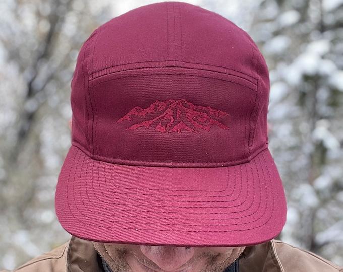 Burgundy 5 panel Hat