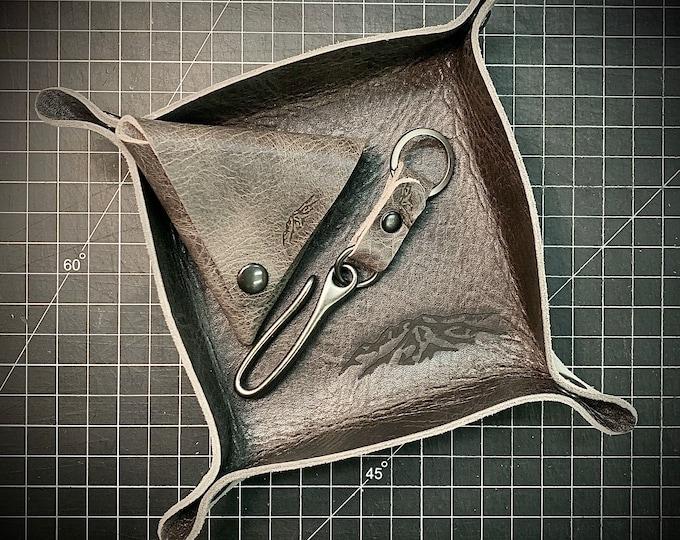Grey and gunmetal Bison leather travel set