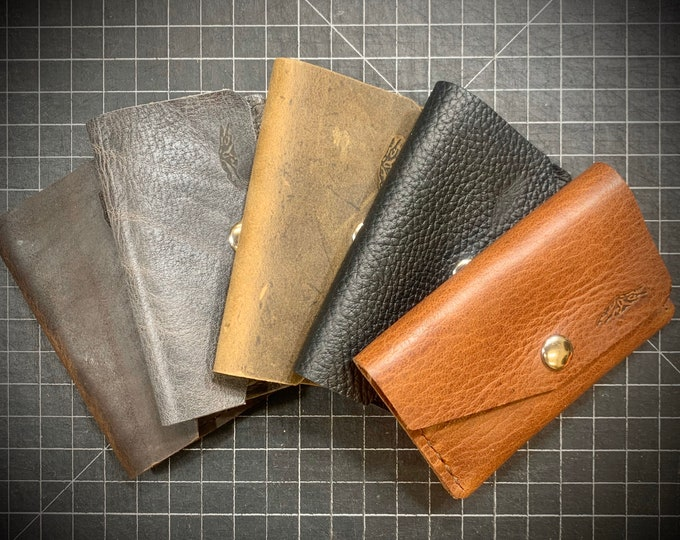 Bison Leather Unisex Double Pocket Snap Wallet