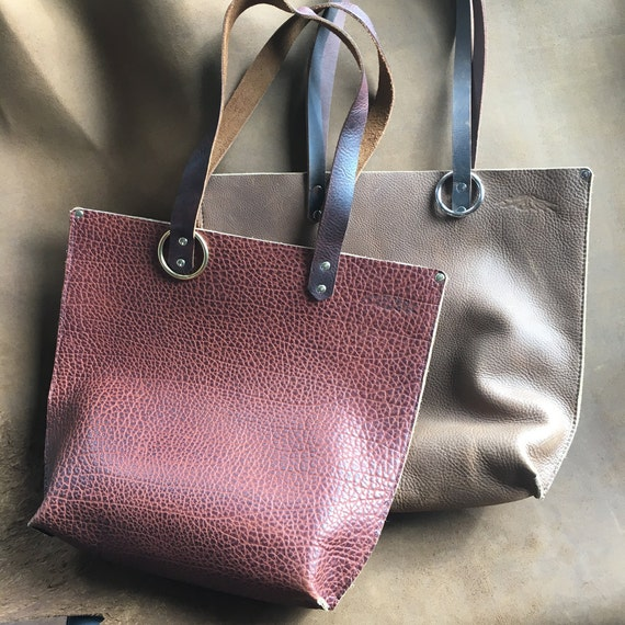 Hand Stitched Bison Leather Totes, Guaranteed for Life