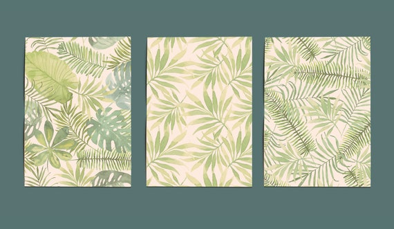Tropical Art Print Set Of 3 Greens And Whites Layered Etsy