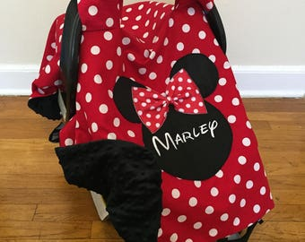 Minnie Mouse Inspired Car Seat Canopy Cover Personalized Carseat Girl