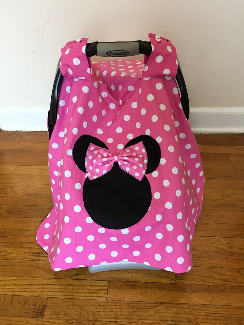 76e7bff47 Minnie Mouse Inspired Car seat Canopy no name car seat cover | Etsy