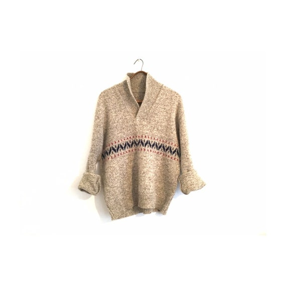 Vintage Wool Shawl Collar Men's Sweater | Natural