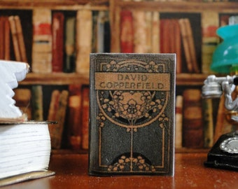David Copperfield by Charles Dickens, 1850, 1:12 scale dollhouse miniature vintage printed opening book.