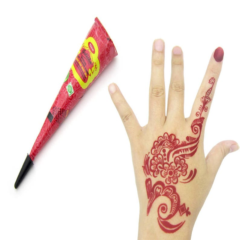 f7785fecb 12 Red Henna Instant Cones Tattoo Paste Body Art Heena Mehndi | Etsy