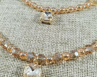 Champagne necklace/wedding jewelry/Champagne Crystal necklace