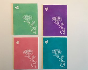 Set of four Flower note  cards new handmade