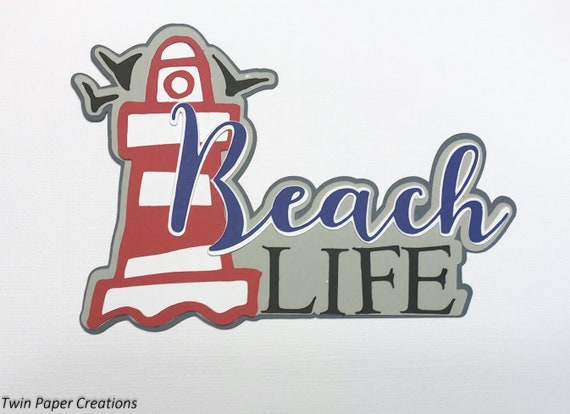 CRAFTECAFE POOL BEACH TITLE premade paper piecing scrapbook diecut piece page
