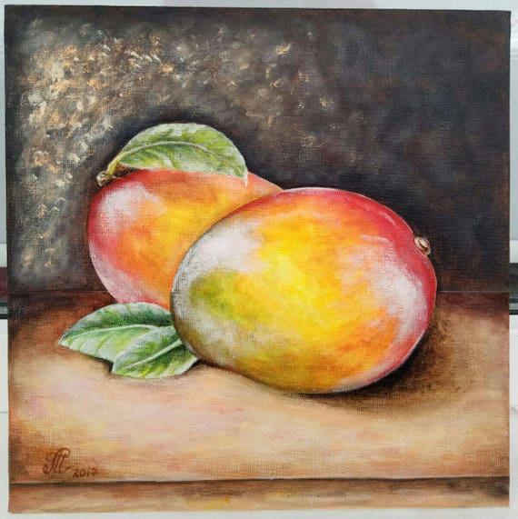 Mango Painting Fruit Painting Original Painting Acrylic On Cardboard Canvas 25x25 Cm Kitchen Wall Art Decor Fine Art
