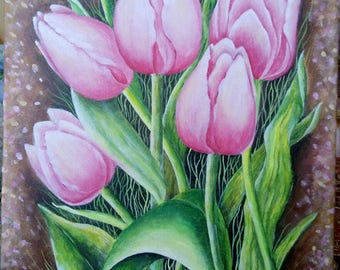 Tulips painting, original, acrylic on canvas 30x40 cm, wall art