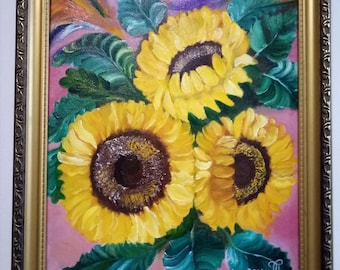 sunflower painting , sunflower art , floral painting , floral art ,home decor ,kitchen decor ,wall art , floral decor , sunflower
