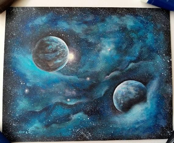 space painting galaxy paintingoriginal acrylic painting on etsy