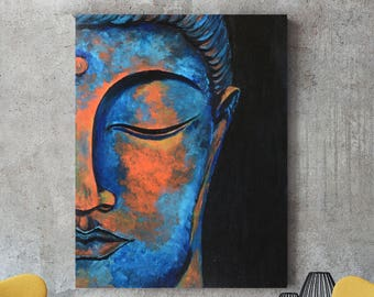Buddha art, Buddha painting, Abstract Buddha, Buddha face, Spiritual art, Buddha wall decor, Buddhist decor, Bohemian decor, Colorful buddha
